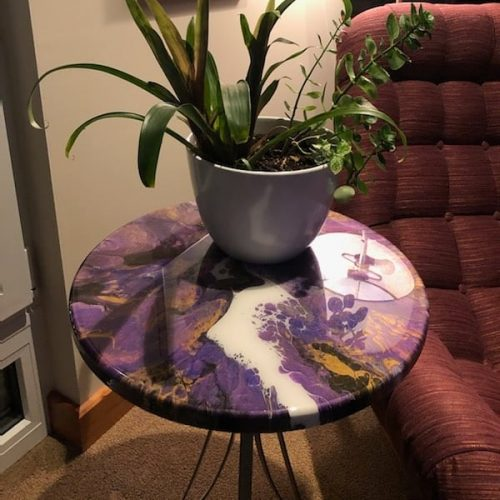 SOLD - 18 INCH TABLE DONE IN PURPLES & GOLD